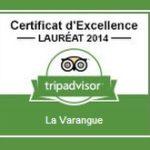 Certificat d'Excellence décerner par TripAdvisor pour l»Hôtel Restaurant La Varangue